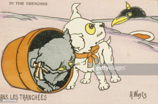 Dessin satirique 'Dans les Tranchées' évocation des évènements de la Première Guerre Mondiale et le conflit armé entre la France et l'Allemagne France