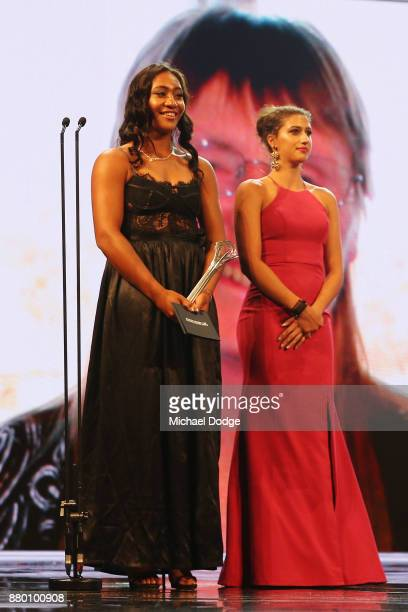 Destanee Aiava and Jamiee Fourlis at the 2017 Newcombe Medal at Crown Palladium on November 27 2017 in Melbourne Australia