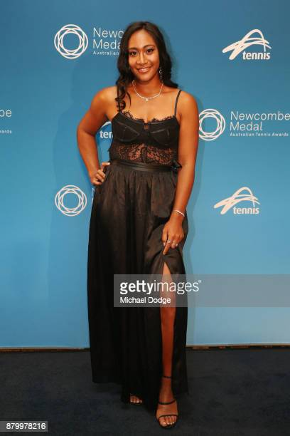 Destanee Aiava arrives at the 2017 Newcombe Medal at Crown Palladium on November 27 2017 in Melbourne Australia