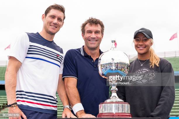 Destanee Aiava Matt Ebden and Pat Cash pose for a photo ahead of tomorrow's 2018 Kooyong Classic at Kooyong on January 8 2018 in Melbourne Australia
