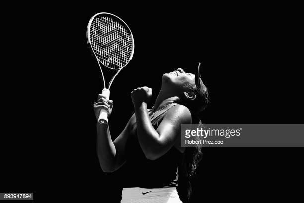 Destanee Aiava of Australia celebrates a win in her match against Tammi Patterson of Australia during the Australian Open December Showdown at...