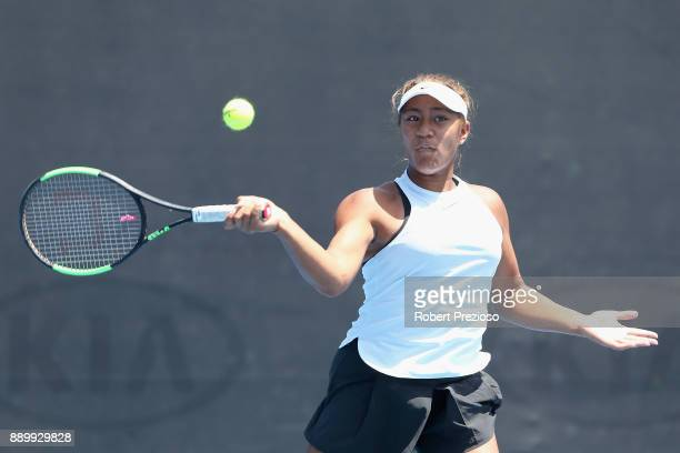 Destanee Aiava of Australia competes against Alexandra Bozovic and Maddison Inglis of Australia in her first round Australian Open December Showdown...