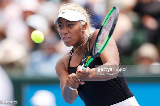 Destanee Aiava of Australia hits a backhand in the 2018 Kooyong Classic at Kooyong on January 9 2018 in Melbourne Australia