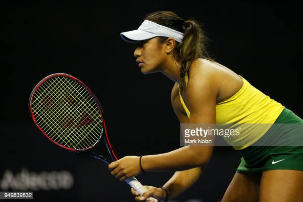 Destanee Aiava of Australia is pictured in her match with Daria Gavrilova of Australia against Lesley Kerkhove and Demi Schuurs of the Netherlands...