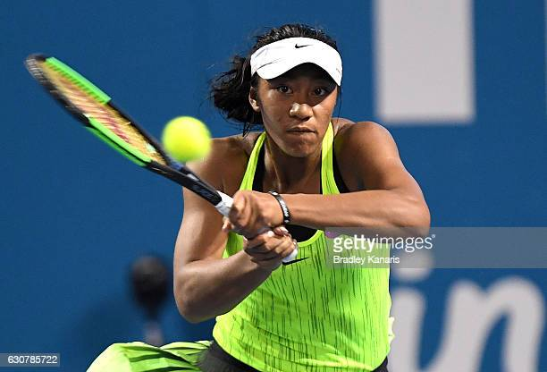 Destanee Aiava of Australia plays a backhand against Bethanie MattekSands of the USA on day two of the 2017 Brisbane International at Pat Rafter...