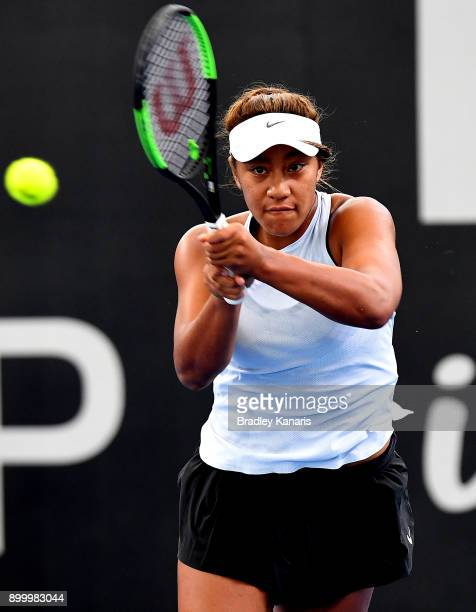 Destanee Aiava of Australia plays a forehand in her match against Ajla Tomljanovic of Croatia during day one at the 2018 Brisbane International at...