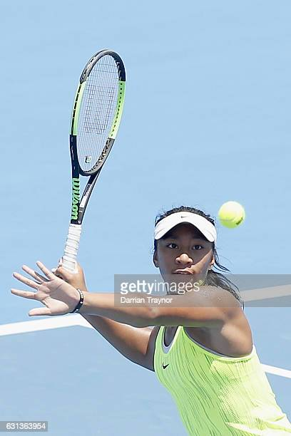 Destanee Aiava of Australia plays a forehand shot in her match against Saurian Cirstea of Romania during day one of the 2017 Priceline Pharmacy...