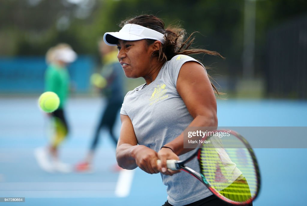 Destanee Aiava of Australia practices after a media opportunity ahead of the Australia v Netherlands Fed Cup World Group Play-off at Wollongong Tennis Club on April 17, 2018 in Wollongong, Australia.