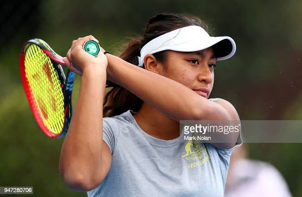Destanee Aiava of Australia practices after a media opportunity ahead of the Australia v Netherlands Fed Cup World Group Playoff at Wollongong Tennis...