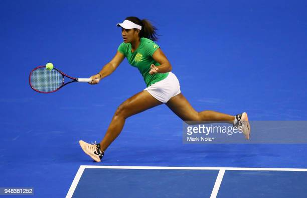 Destanee Aiava of Australia practices during a training session ahead of the World Group PlayOff Fed Cup tie between Australia and the Netherlands at...