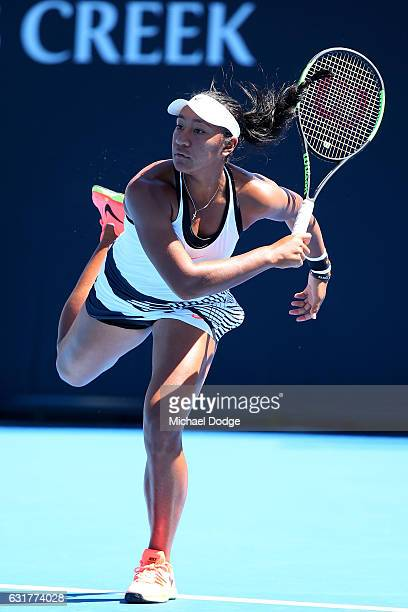 Destanee Aiava of Australia serves in her first round match against Mona Barthel of Germany on day one of the 2017 Australian Open at Melbourne Park...