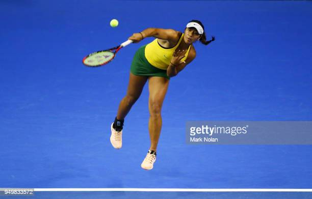 Destanee Aiava of Australia serves in her match with Daria Gavrilova of Australia against Lesley Kerkhove and Demi Schuurs of the Netherlands during...