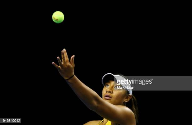Destanee Aiava of Australia serves in the doubles match with Daria Gavrilova of Australia against Lesley Kerkhove and Demi Schuurs of the Netherlands...