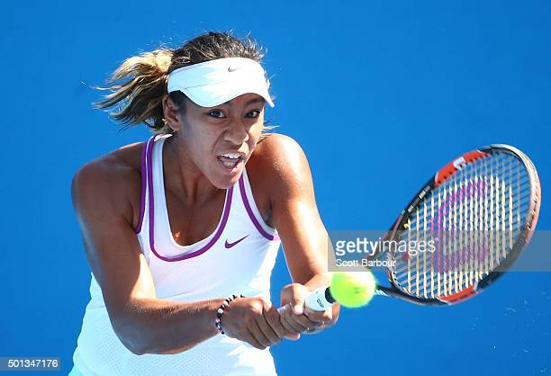 Destanee Aiava of Victoria plays a backhand during her 2016 Australian Open Women's Singles Play Off match against Olivia Tjandramulia of Queensland...