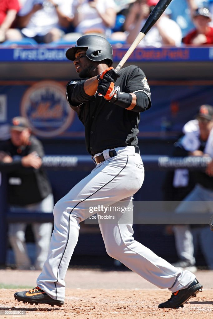 Destin Hood #68 of the Miami Marlins drives in the tying run in the fifth inning of a Grapefruit League spring training game against the New York Mets at Tradition Field on March 22, 2017 in Port St. Lucie, Florida. The Marlins defeated the Mets 15-9.