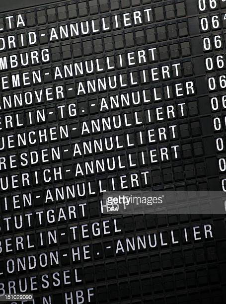 Destination board displays cancelled flights at the airport in Frankfurt/M., western Germany, where cabin staff of German airline Lufthansa staged a...