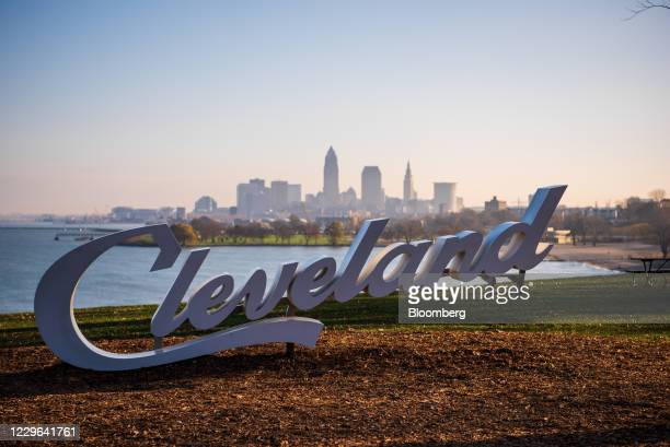 Destination Cleveland Script sign in Cleveland, Ohio, U.S., on Saturday, Nov. 14, 2020. On Sunday, the Ohio Department of Health reported a total of...