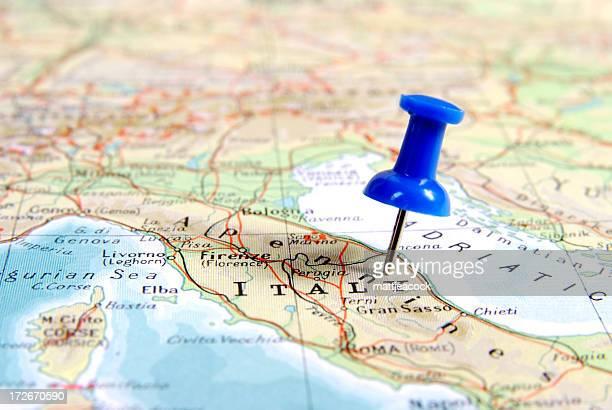 destinazione in italia - carta geografica foto e immagini stock