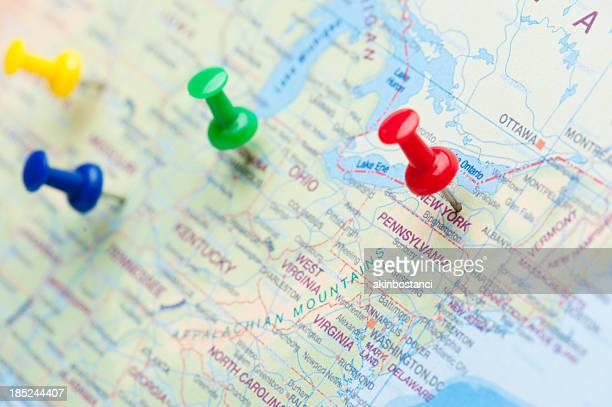 destination new york - push pin stock pictures, royalty-free photos & images