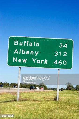 Destination road sign new york stock photo getty images for The sign