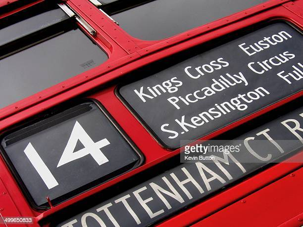 CONTENT] Destination sign for the number 14 bus route in London for Tottenham Court Road shown on the front of a routemaster bus