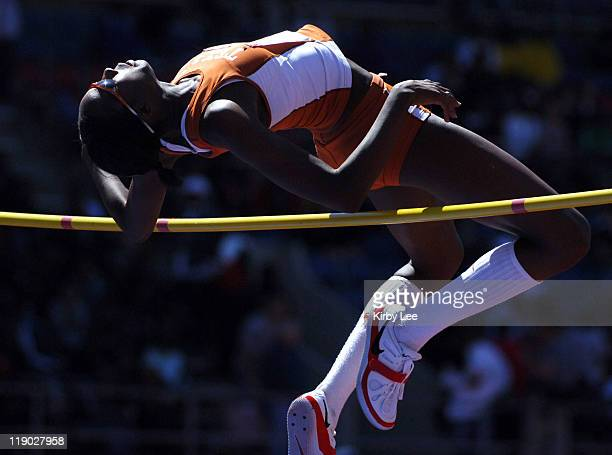 Destinee Hooker of Texas won the college women's high jump at 62 in the 112th Penn Relays at the University of Pennsylvania's Franklin Field in...
