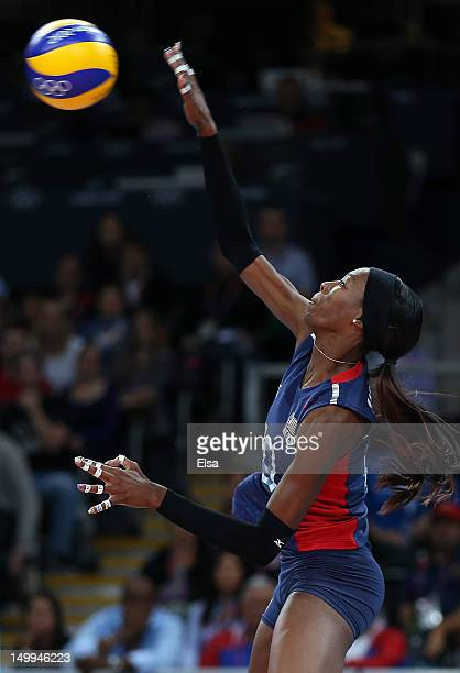 Destinee Hooker of the United States spikes the ball in the third set against the Dominican Republic during Women's Volleyball quarterfinals on Day...