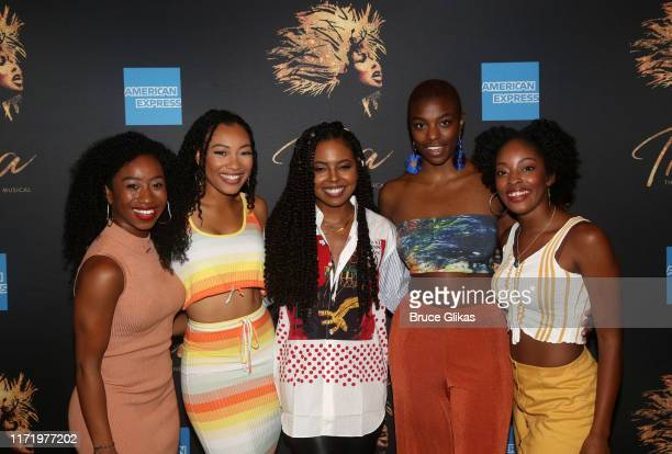 Destinee Rea Holly Conway Adrienne Warren Mars Rucker and Kayla Davion pose at a photo call for the new broadway musical Tina The Tina Turner Musical...
