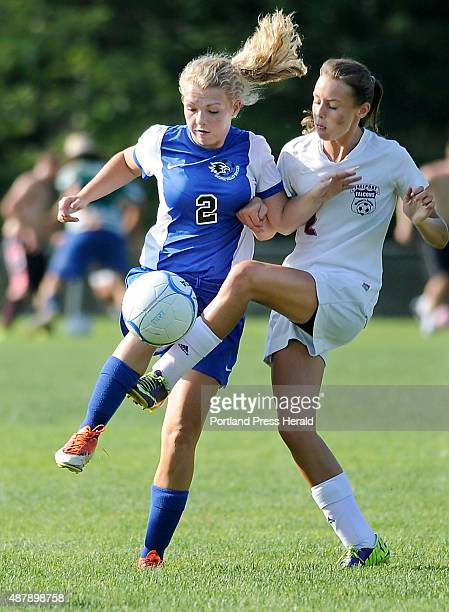 SV# 2 Destini Rand battles for control with Freeport Taylor Rinaldi while they battle for control as Freeport hosts Sacopee Valley in girls high...