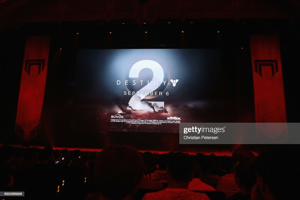 'Destiny 2' is displayed during the Sony Playstation E3 conference at the Shrine Auditorium on June 12, 2017 in Los Angeles, California. The E3 Game Conference begins on Tuesday June 13.
