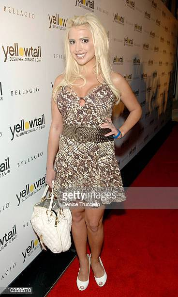 Destiny Davis arrives at the grand opening celebration of Yellowtail Sushi Restaurant Bar At Bellagio Hotel and Casino Resort on August 29 2008 in...