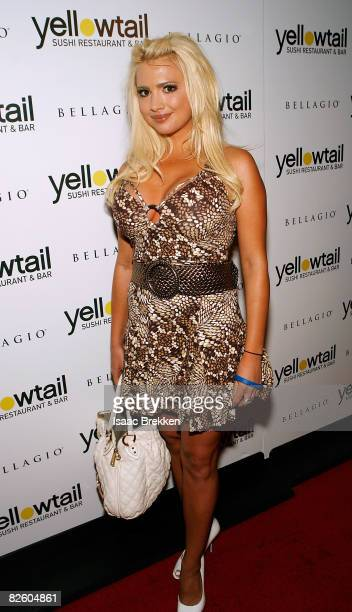 Destiny Davis arrives at the grand opening celebration of Yellowtail Suishi Restaurant Bar at the Bellagio on August 29 2008 in Las Vegas Nevada