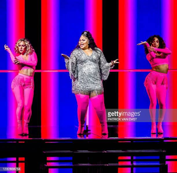 Destiny from Malta with the song 'Je Me Casse' takes part in the second rehearsal of the second semifinal of the Eurovision Song Contest in Rotterdam...