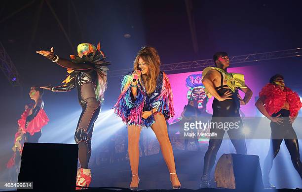 Destiny & Jessica Mauboy perform on stage during Mardi Gras Party at the Entertainment Quarter on March 7, 2015 in Sydney, Australia.
