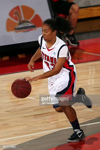 Destiny LavitaStephens of the Detroit Titans dribbles against the South Alabama Jaguars at The Matadome on November 24 2012 in Northridge California...