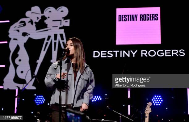 Destiny Rogers performs onstage during the Will Rogers 78th Annual Pioneer Dinner honoring Elizabeth Banks at The Beverly Hilton Hotel on September...