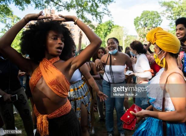 Destiny Santvna and Manuela Agudelo dances during a Juneteenth celebration on June 19 2020 in New York City Juneteenth commemorates June 19 when a...