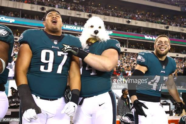 Destiny Vaeao, Beau Allen and Nate Gerry of the Philadelphia Eagles celebrate their teams win over the Minnesota Vikings in the NFC Championship game...