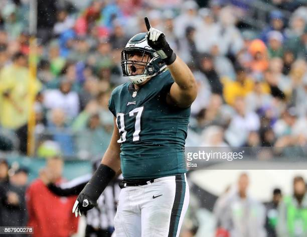 Destiny Vaeao of the Philadelphia Eagles celebrates a sack in the second half against the San Francisco 49ers on October 29 2017 at Lincoln Financial...