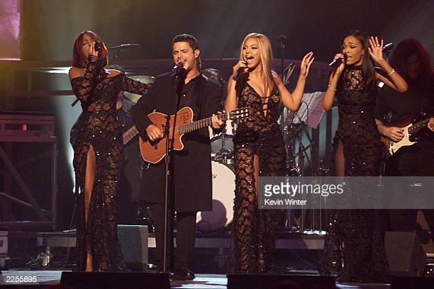 Destinys Child and Alejandro Sanz perform at the 44th Annual Grammy Awards held at the Staples Center in Los Angeles CA on Wednesday night Feb 27 2002
