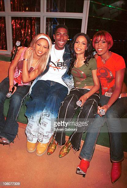 Destiny's Child and Thomas J Flagg during betcom User Wins Prize of Dreams Meeting Destiny's Child at BET Studios in New York City New York United...