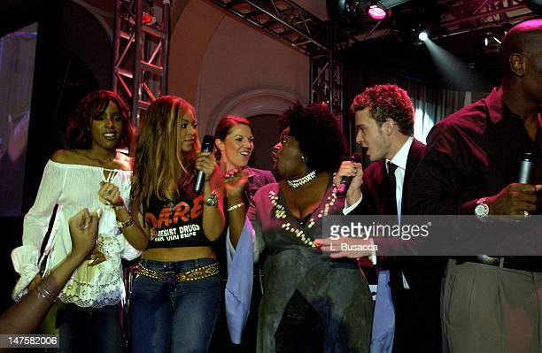 Destiny's Child Angie Stone Justin Timberlake during The 44th Annual GRAMMY Awards Clive Davis PreGRAMMY Party at Beverly Hills Hotel in Beverly...