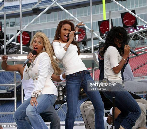 Destiny's Child Beyonce Knowles Michele Williams and Kelly Rowland reunite at dress rehearsal prior to performance before a sold out Gillette Stadium...