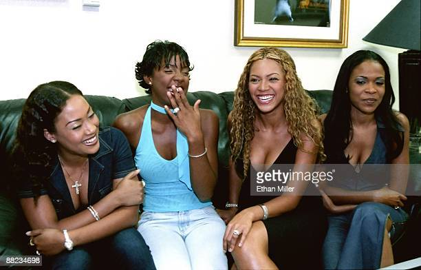 Destiny's Child Farrah Franklin Kelly Rowland Beyonce Knowles and Michelle Williams are interviewed before a performance at The Joint inside the Hard...