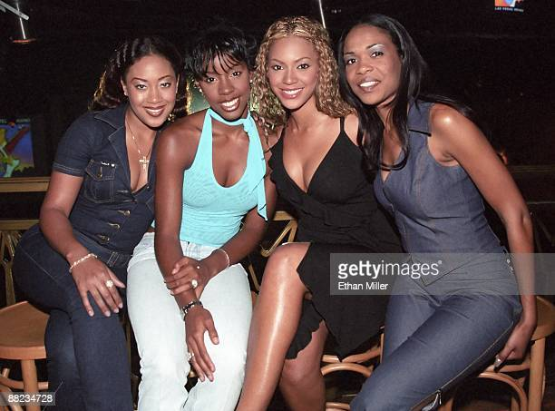 Destiny's Child Farrah Franklin Kelly Rowland Beyonce Knowles and Michelle Williams appear before a performance at The Joint inside the Hard Rock...