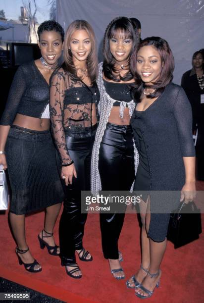 Destiny's Child Kelly Rowland Beyonce Knowles LeToya Luckett and LaTavia Robertson at the Shrine Auditorium in Los Angeles California