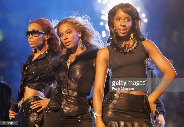 Destiny's Child performs at the 2005 NBA All Star Game at the Pepsi Center on February 20, 2005 in Denver, Colorado.
