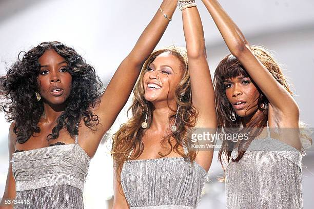 Destiny's Child singers Kelly Rowland Beyonce Knowles and Michelle Williams perform onstage at the 2005 World Music Awards at the Kodak Theatre on...