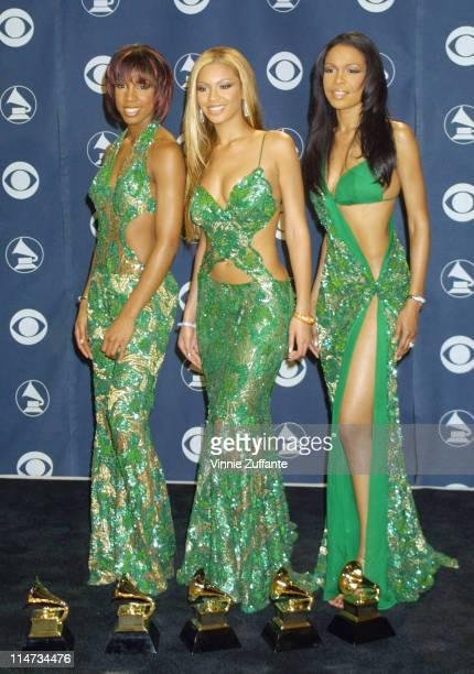 Destiny's Child with their Awards @ 2001 Grammy Awards in LA 2/21/01