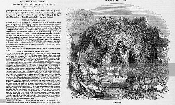 A destitute man stands in front of his Scalpeen a rude hut near Kilrush Ireland Kilrush supported a large percentage of poor citizens despite the...